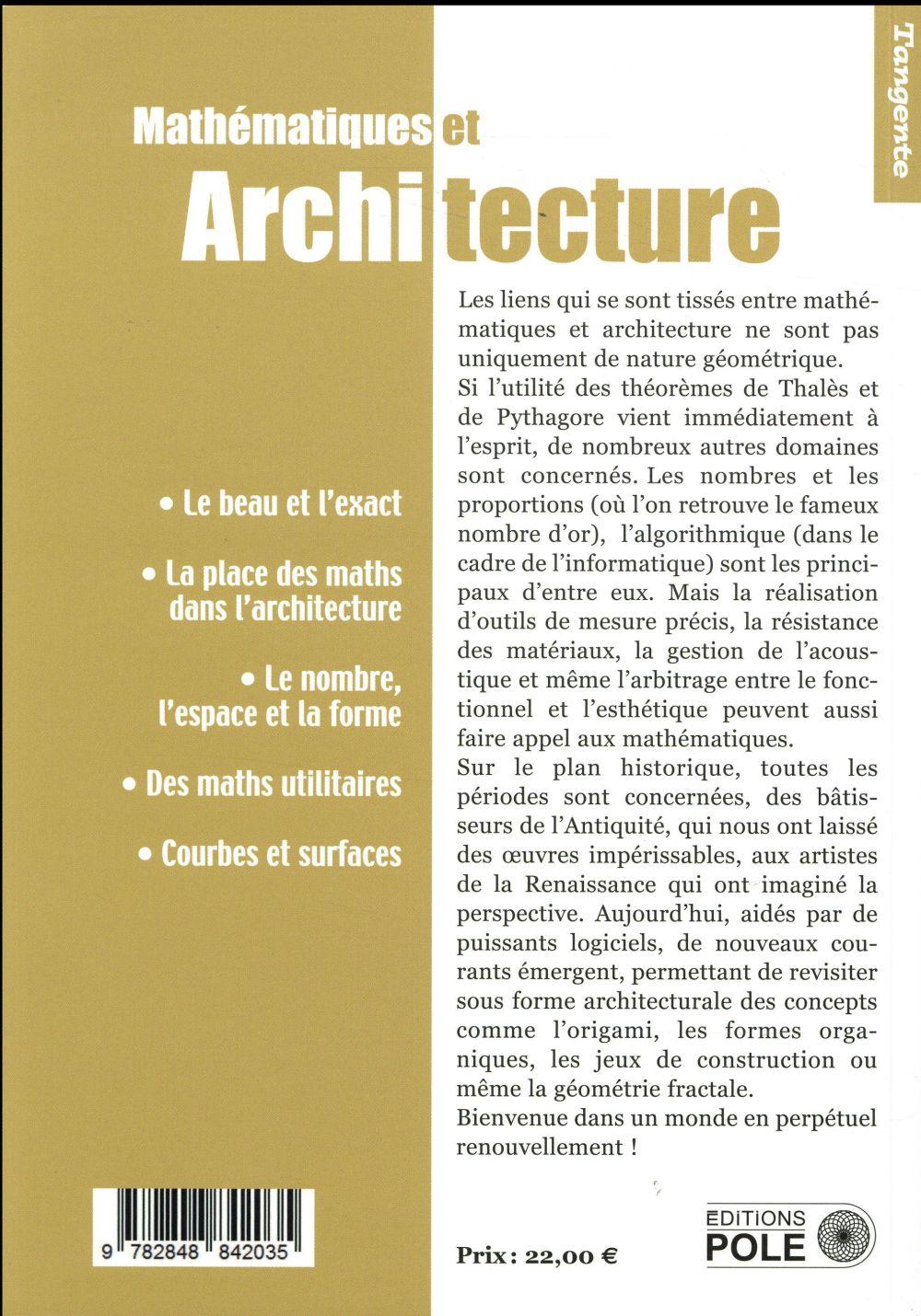 Mathematiques et architecture ; a la recherche de l'harmonie