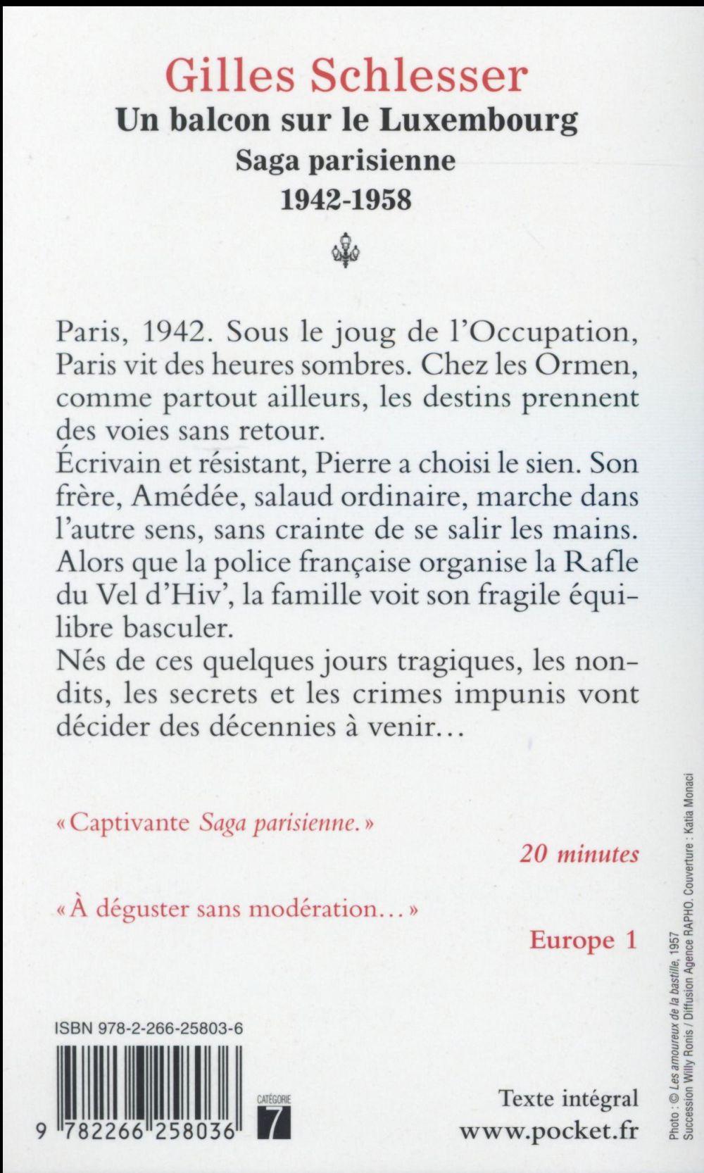 Saga parisienne t.1 ; un balcon sur le Luxembourg ; 1942-1958