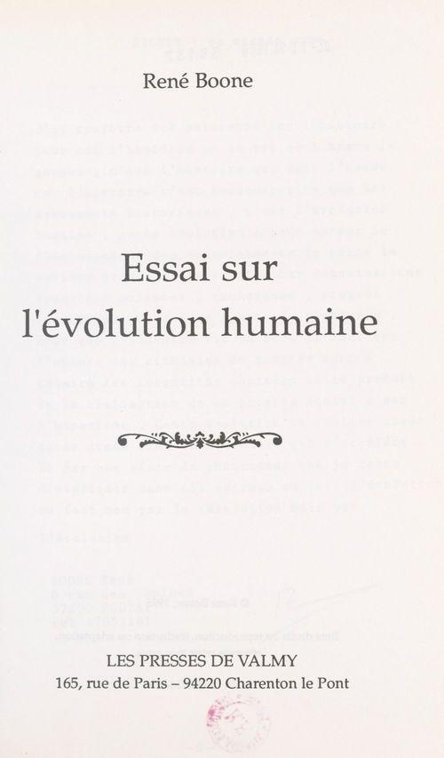 Essai sur l'évolution humaine