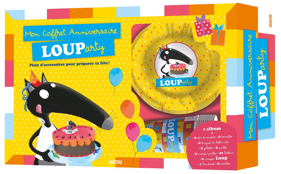 Mon coffret anniversaire Louparty ; plein d'accessoires pour préparer ta fête !