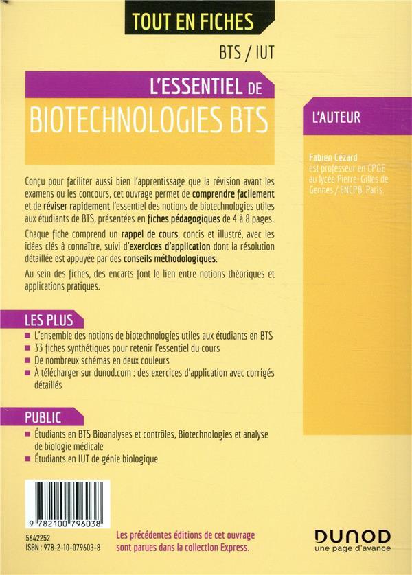 Biotechnologies ; BTS, IUT ; l'essentiel en fiches (2e édition)