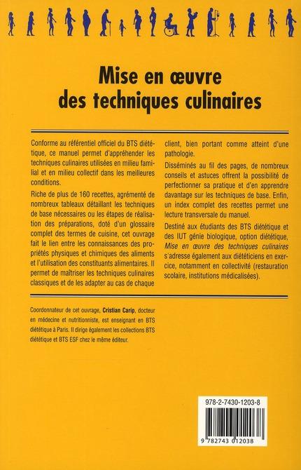 mise en oeuvre des techniques culinaires