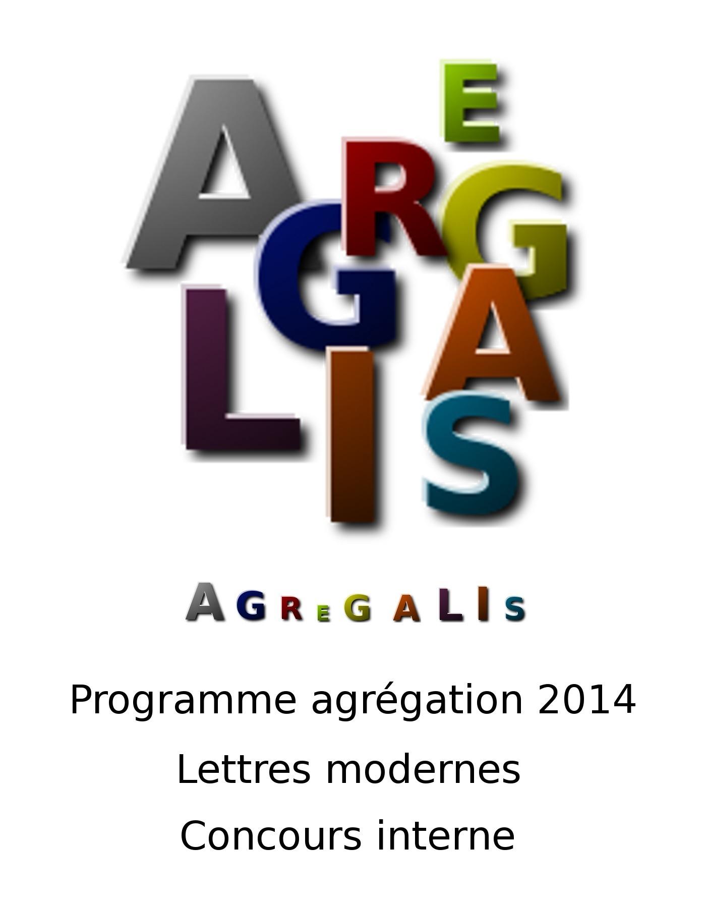 Programme agrégation 2014 - Lettres modernes - Concours Interne