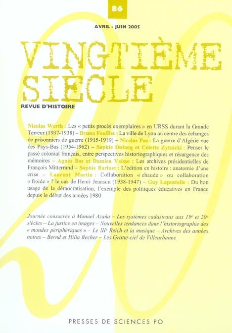 Revue vingtieme siecle n.86