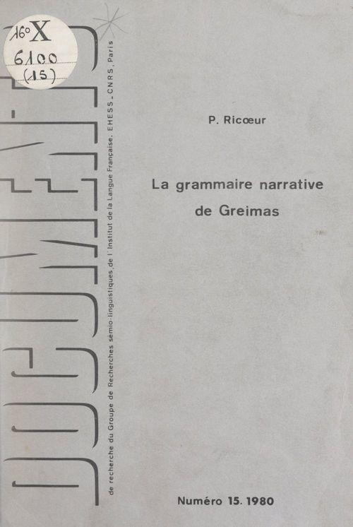 La grammaire narrative de Greimas