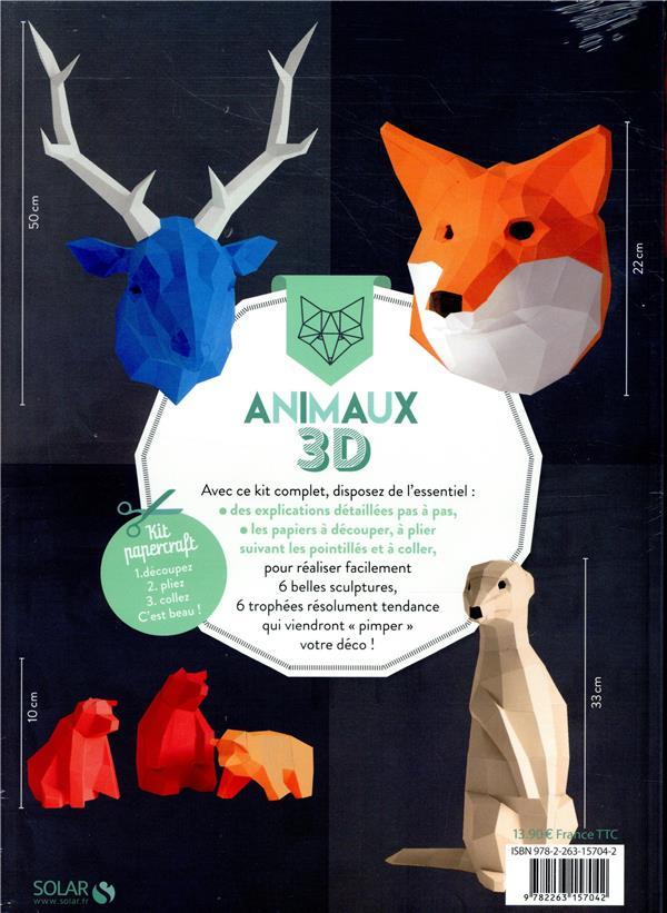 Animaux 3D ; 6 trophées déco