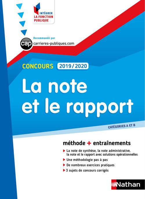 Concours ; la note et le rapport (édition 2019/2020)