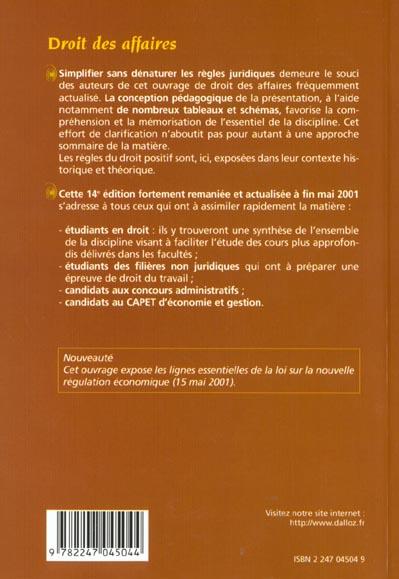 Droit des affaires ; 14e edition 2001