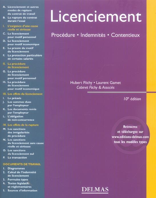 Licenciement : procedure, indemnites, contentieux (10e édition)