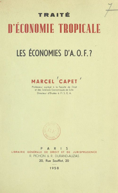 Traité d'économie tropicale