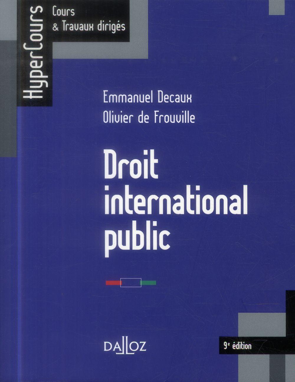 Droit international public ; 9e édition