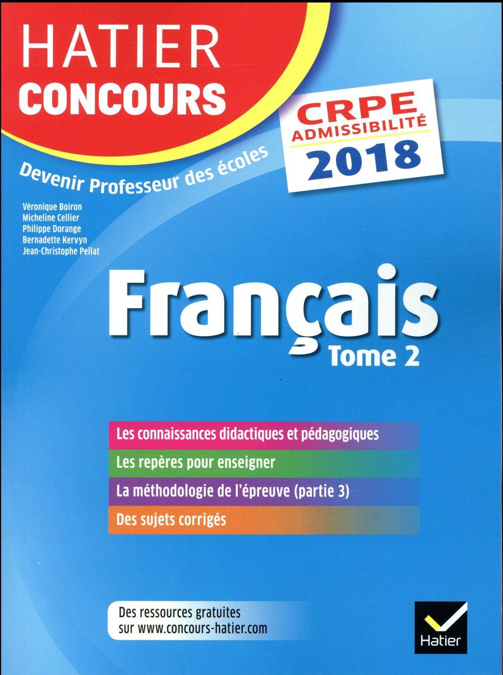 CRPE ; français t.2 ; épreuve écrite d'admissibilité (édition 2018)