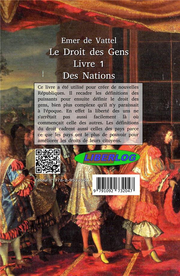 Le droit des gens t.1 ; des nations