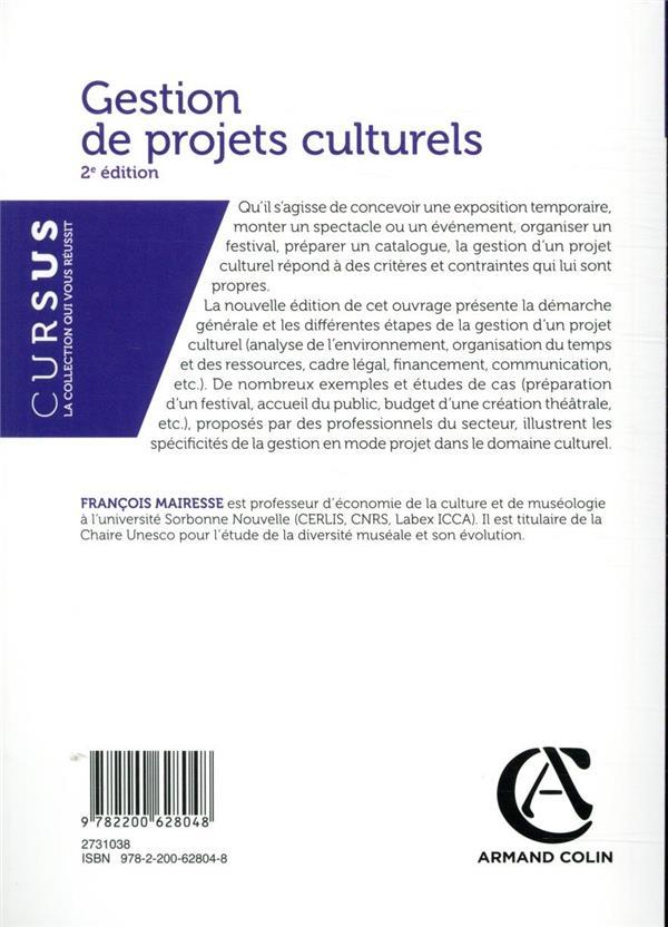Gestion de projets culturels ; conception, mise en oeuvre, direction (2e édition)