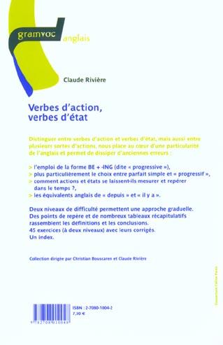 Verbes D Action Verbes D Etat Claude Riviere Ophrys Grand Format Pave Dans La Mare Elancourt