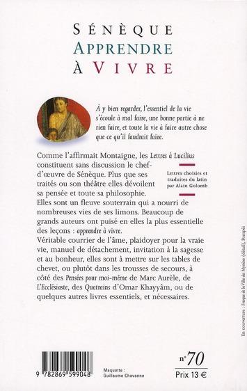 Apprendre à vivre ; choix de lettres à Lucilius