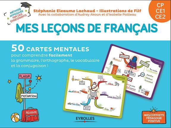 mes leçons de français ; CP, CE1, CE2 ; 50 cartes mentales