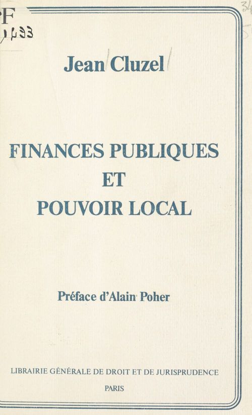 Finances publ.pouvoir local