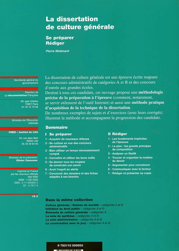 la dissertation de culture generale ; se preparer, rediger ; categorie a et b