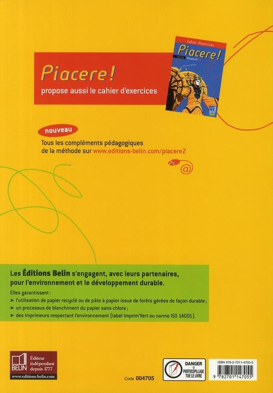 PIACERE ; piacere ! italien ; niveau 2 / A2 ; livre de l'élève (édition 2008)