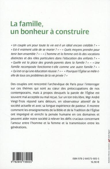 la famille un bonheur à construire ; des couples interrogent l'archevêque de Paris