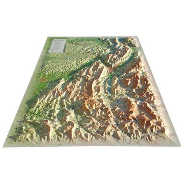 Carte en relief des parcs naturels régionaux du Vercors et de la Chartreuse
