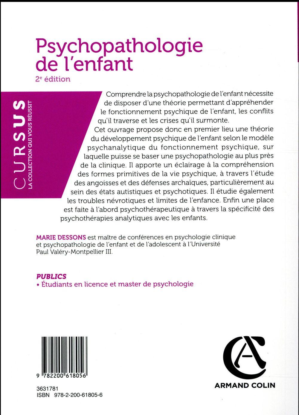 Psychopathologie De L Enfant 2e Edition Marie Dessons Armand Colin Grand Format Le Hall Du Livre Nancy