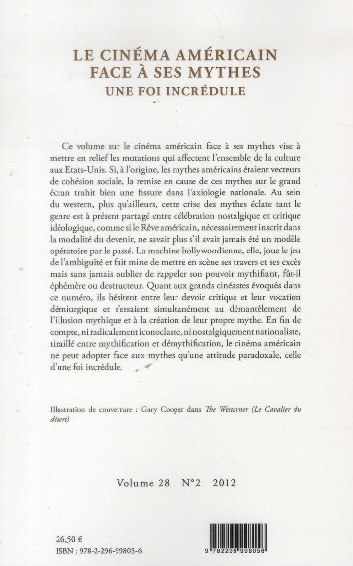 Cycnos Le Cinema Americain Face A Ses Mythes Une Foi Incredule Christian Gutleben L Harmattan Grand Format Librairies Autrement