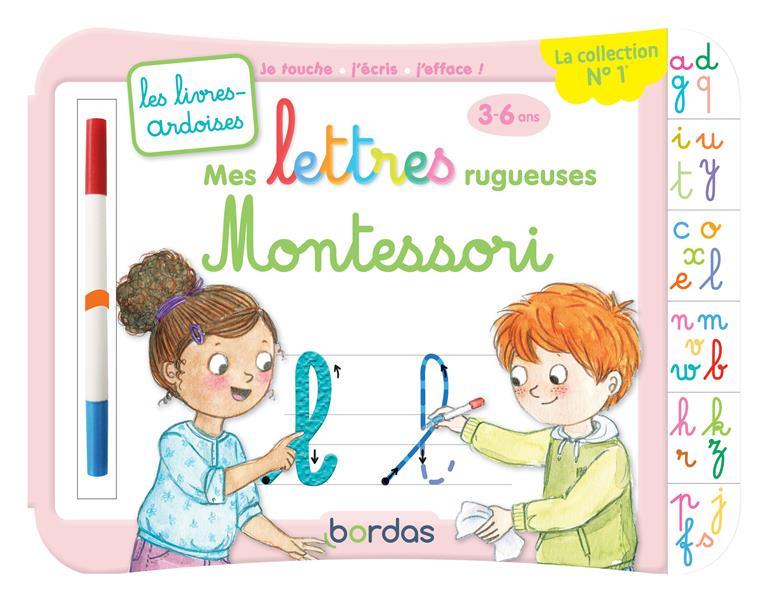 Les livres-ardoises ; mes lettres rugueuses Montessori ; 3/6 ans