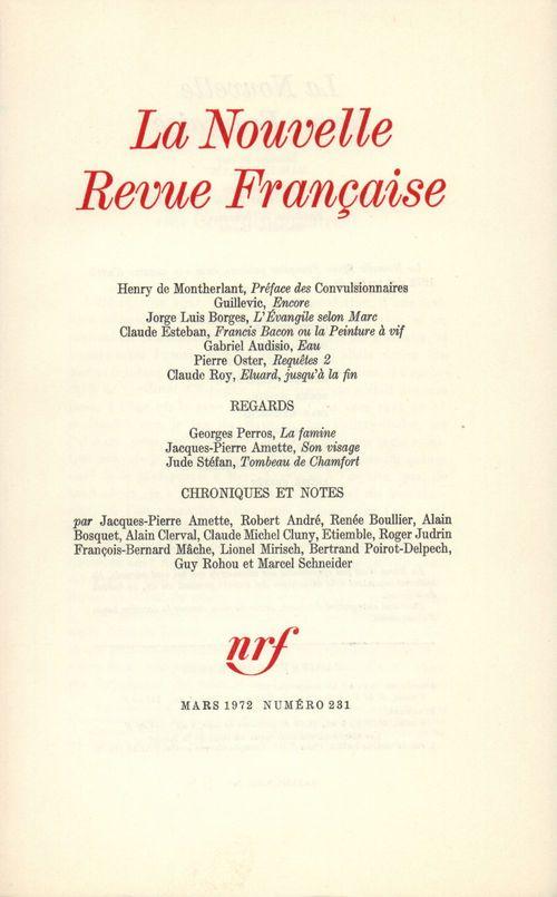 La Nouvelle Revue Française N° 231  - Collectifs  - La Nouvelle Revue Francaise