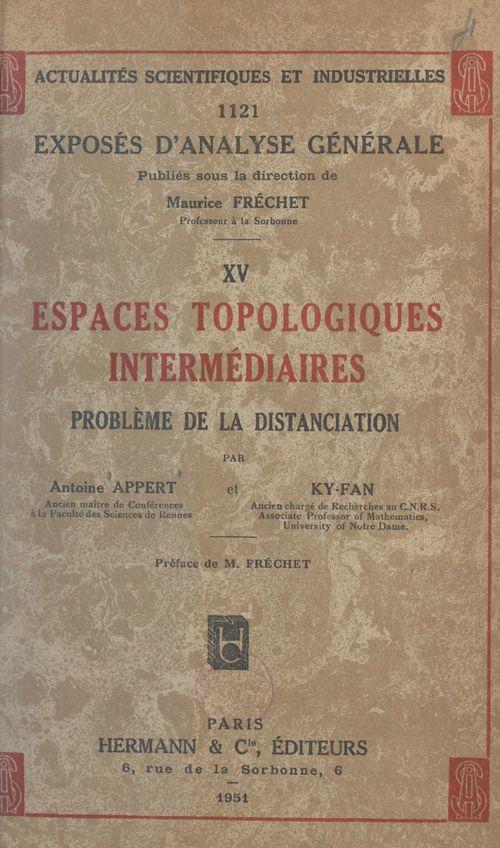 Espaces topologiques intermédiaires : problème de la distanciation