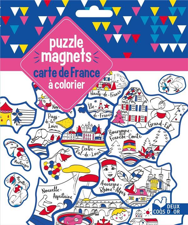 GOMMETTES ; puzzle magnets carte de france à colorier