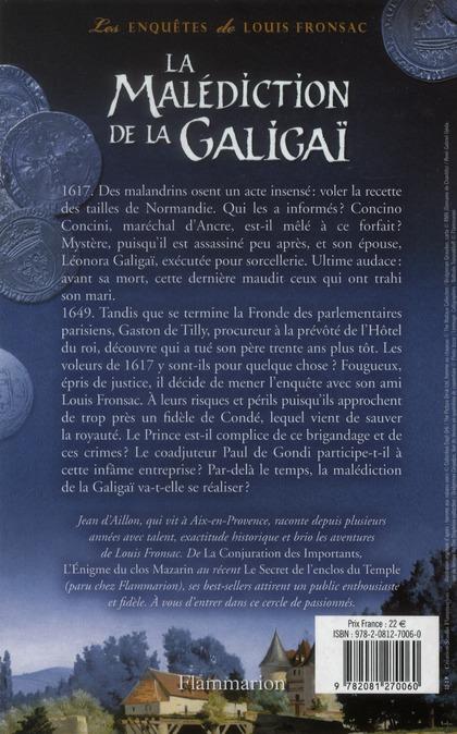 Les enquêtes de Louis Fronsac t.10 ; la malédiction de la Galigaï