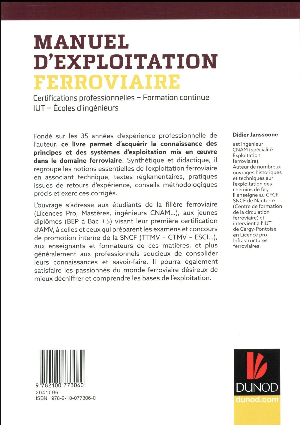 Manuel d'exploitation ferroviaire ; certifications AMV, TTMV, CTMV