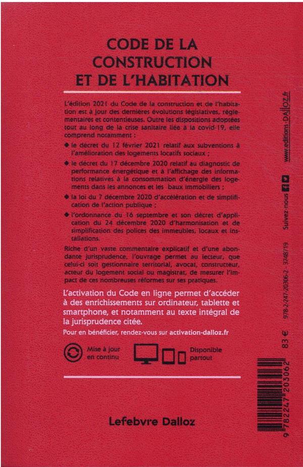 Code de la construction et de l'habitation, annoté et commenté (édition 2021)