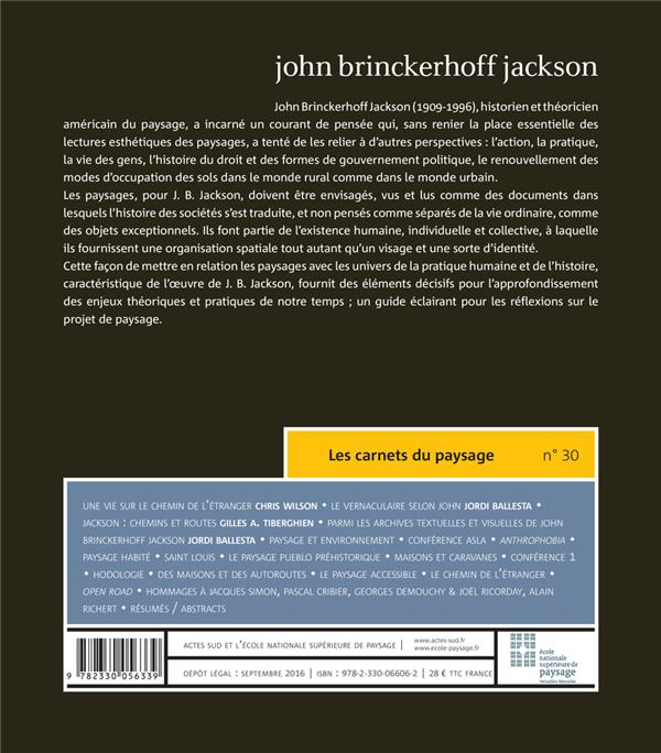LES CARNETS DU PAYSAGE n.30 ; John Brinckerhoff Jackson (1909-1996)