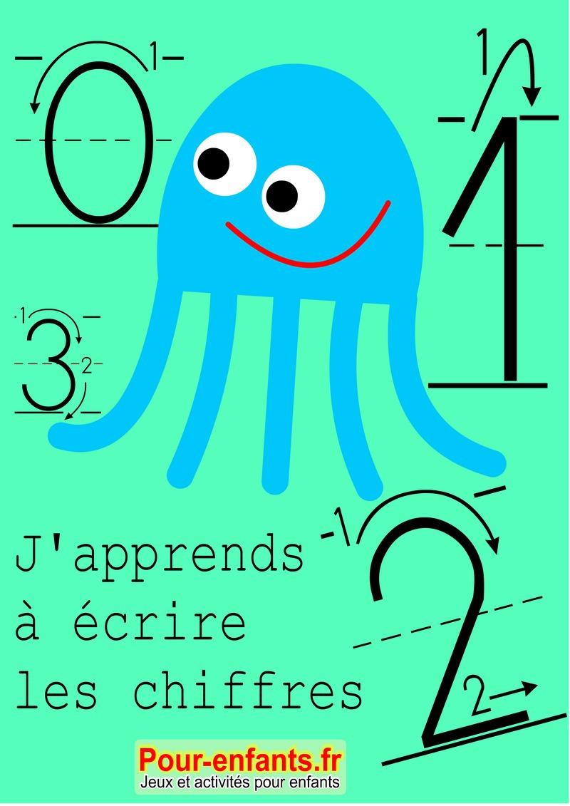 Apprendre à écrire les chiffres en maternelle. Nombres de 0 à 9.