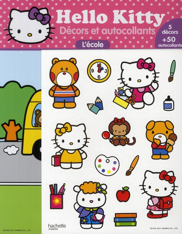 Hello Kitty ; Decors Et Autocollants ; L'Ecole