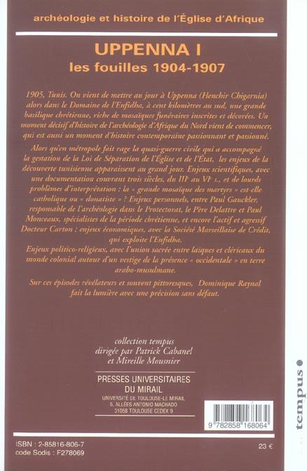 archeologie et histoire de l'eglise d afrique. uppenna i. les fouilles 1904-1907
