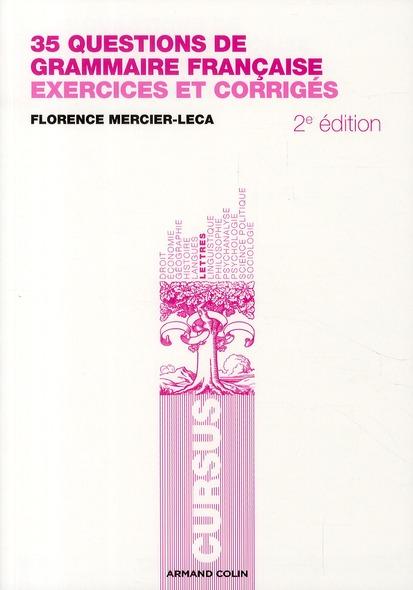 30 Questions De Grammaire Francaise ; Exercices Et Corriges (2e Edition)