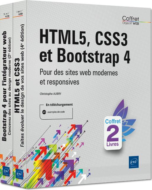 HTML5, CSS3 et Bootstrap 4 ; coffret de deux livres : pour des sites web modernes et responsives