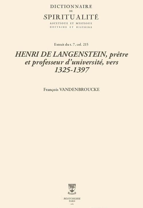 HENRI DE LANGENSTEIN, prêtre et professeur d'université, vers 1325-1397