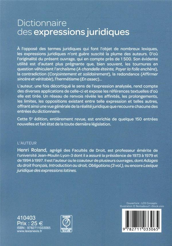 Dictionnaire des expressions juridiques (5e édition)