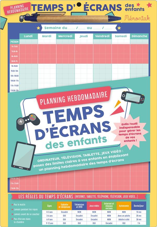 XXX - PLANNING HEBDOMADAIRE TEMPS D'ECRANS DES ENFANTS MEMONIAK 2020
