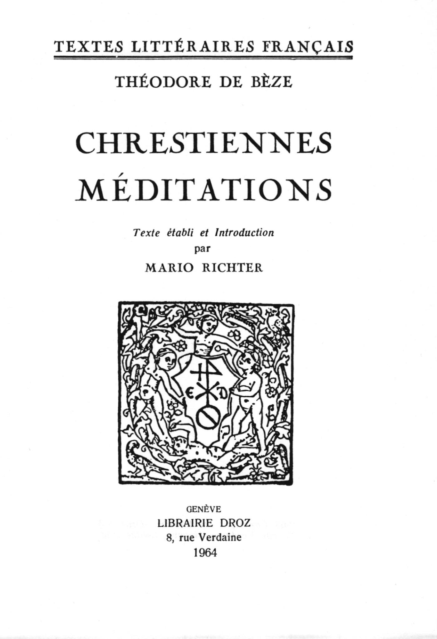 Chrestiennes méditations  - Théodore de Bèze