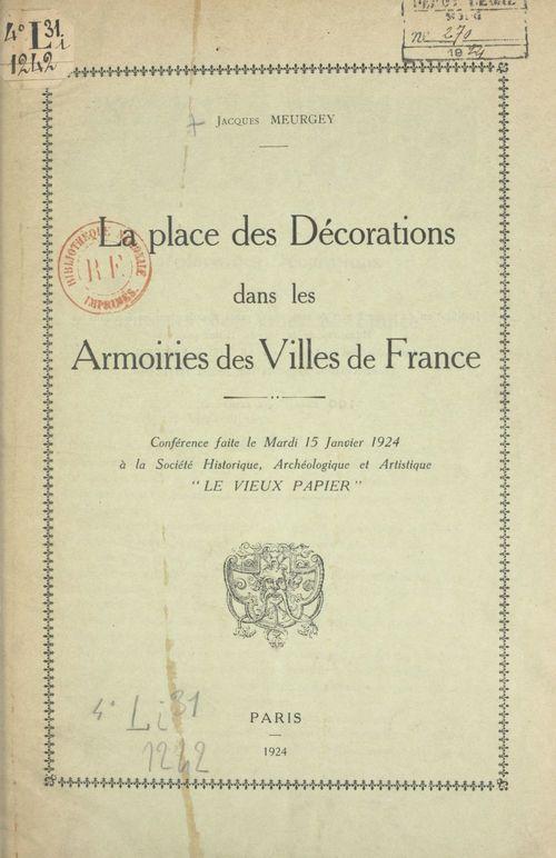 La place des décorations dans les armoiries des villes de France