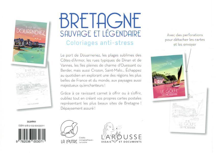 Bretagne sauvage et légendaire : coloriages anti-stress ; 36 cartes postales prédécoupées