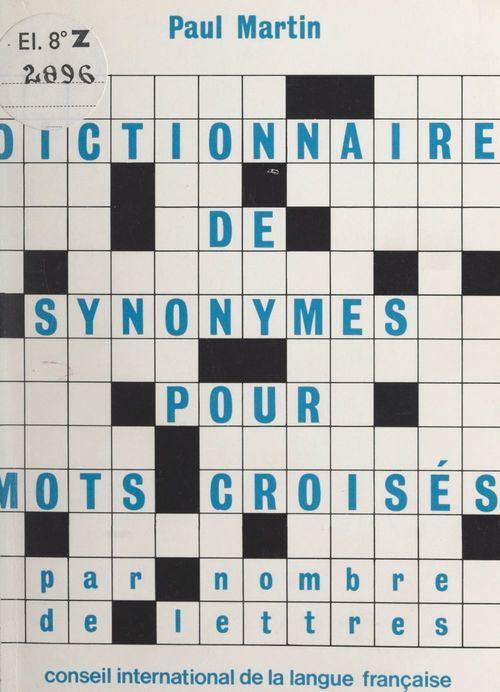 Dictionnaire de synonymes par nombre de lettres