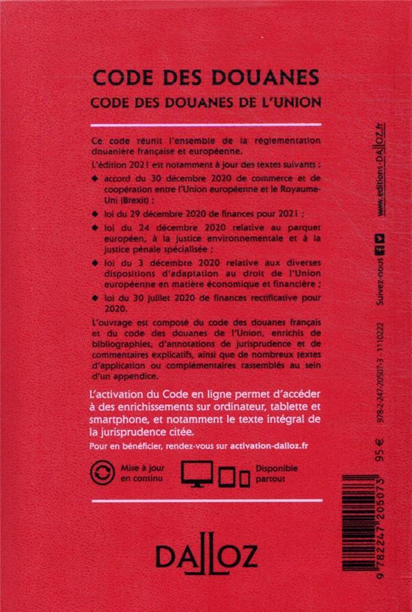 code des douanes ; code des douanes de l'Union ; annoté & commenté (édition 2021)