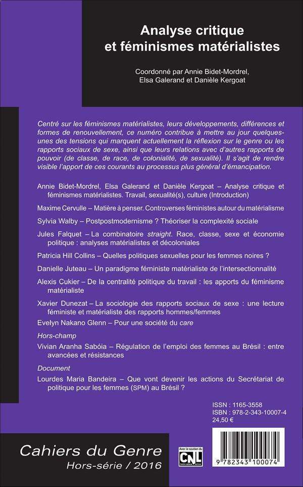 Analyse critique et féminismes matérialistes
